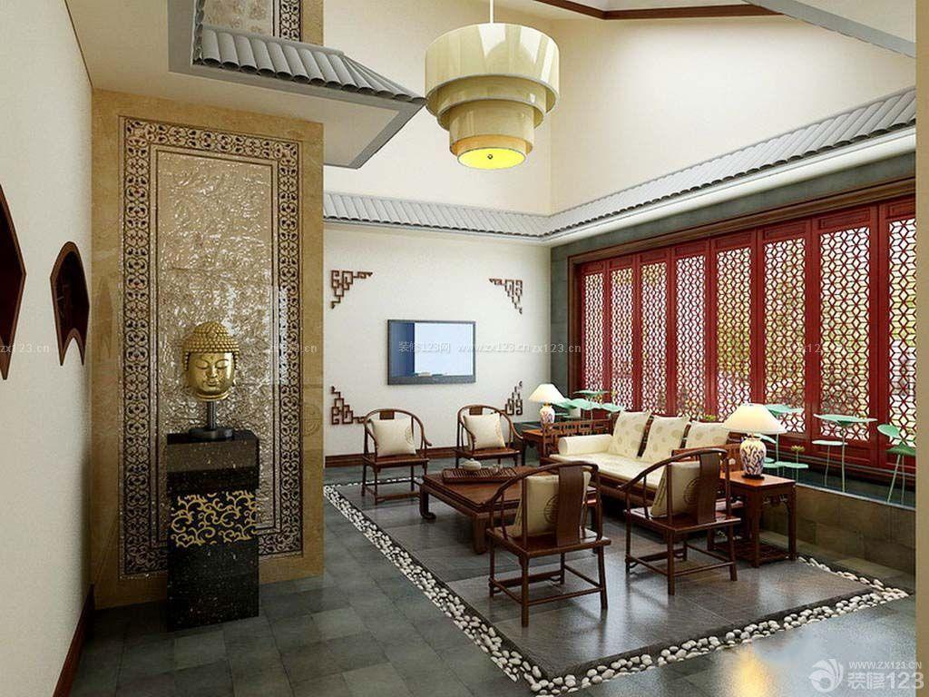 简装中式别墅客厅实木家具图片大全