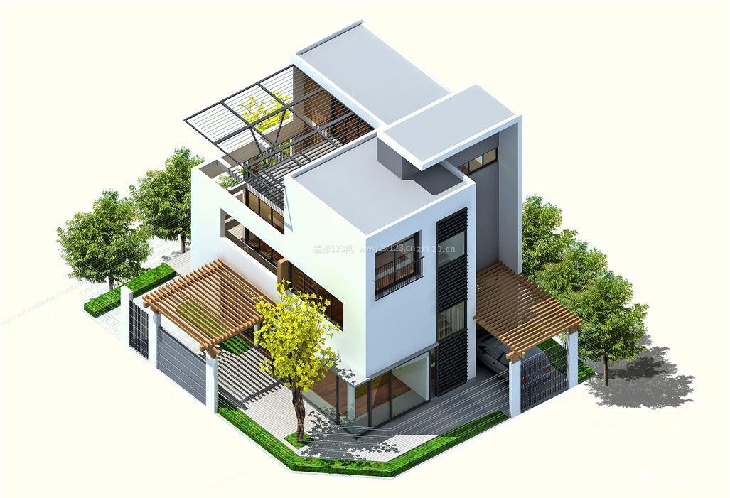 现代豪华别墅顶楼阳台装修设计图