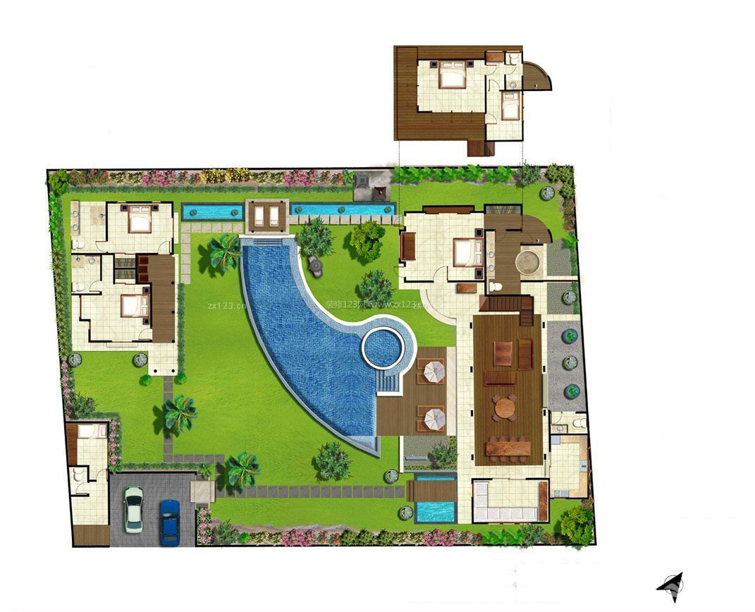 别墅庭院游泳池设计平面图