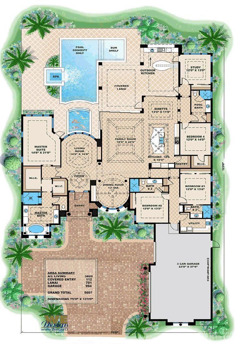 独栋别墅庭院设计平面图欣赏