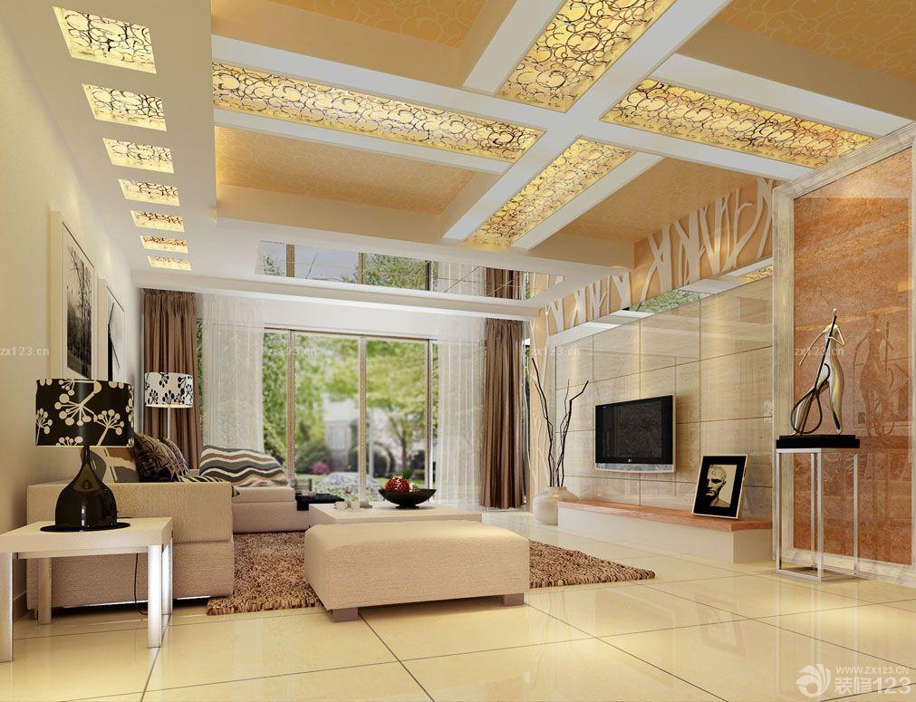 长方形客厅吊顶设计装修效果图片