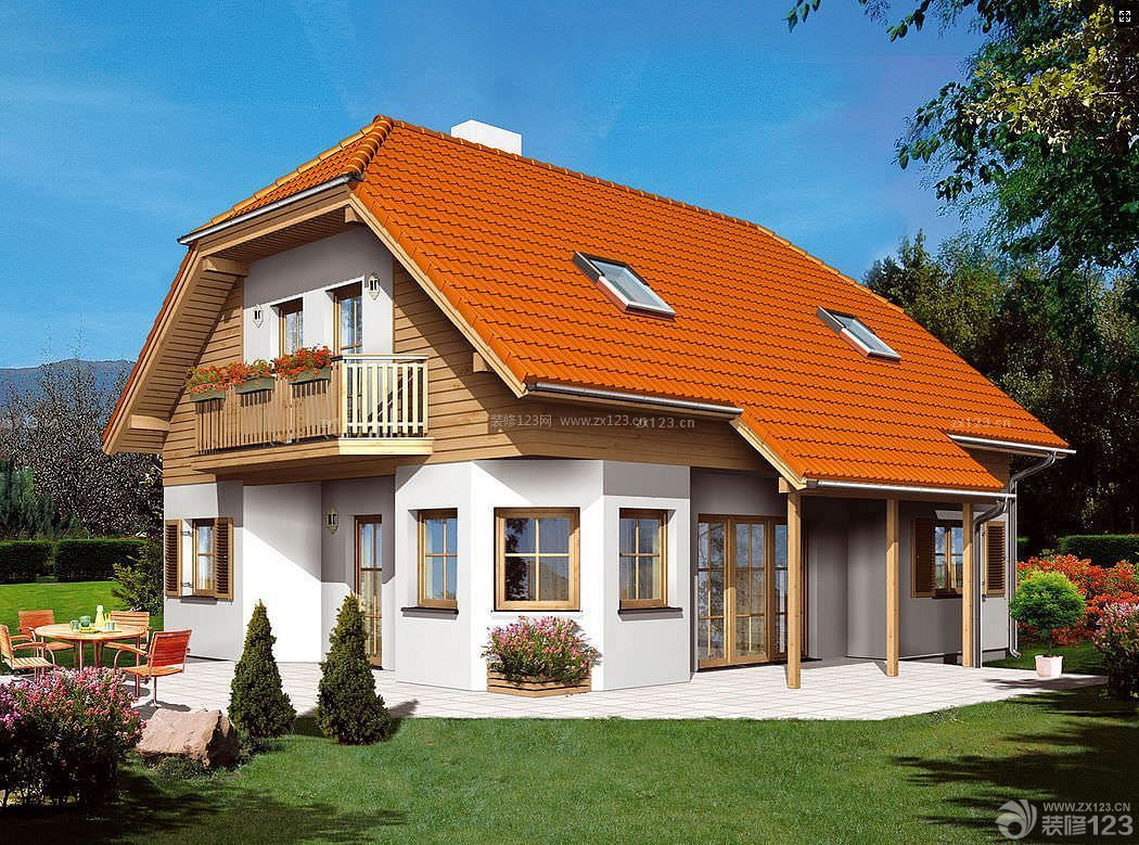 农村二层小别墅琉璃瓦效果图纸图片