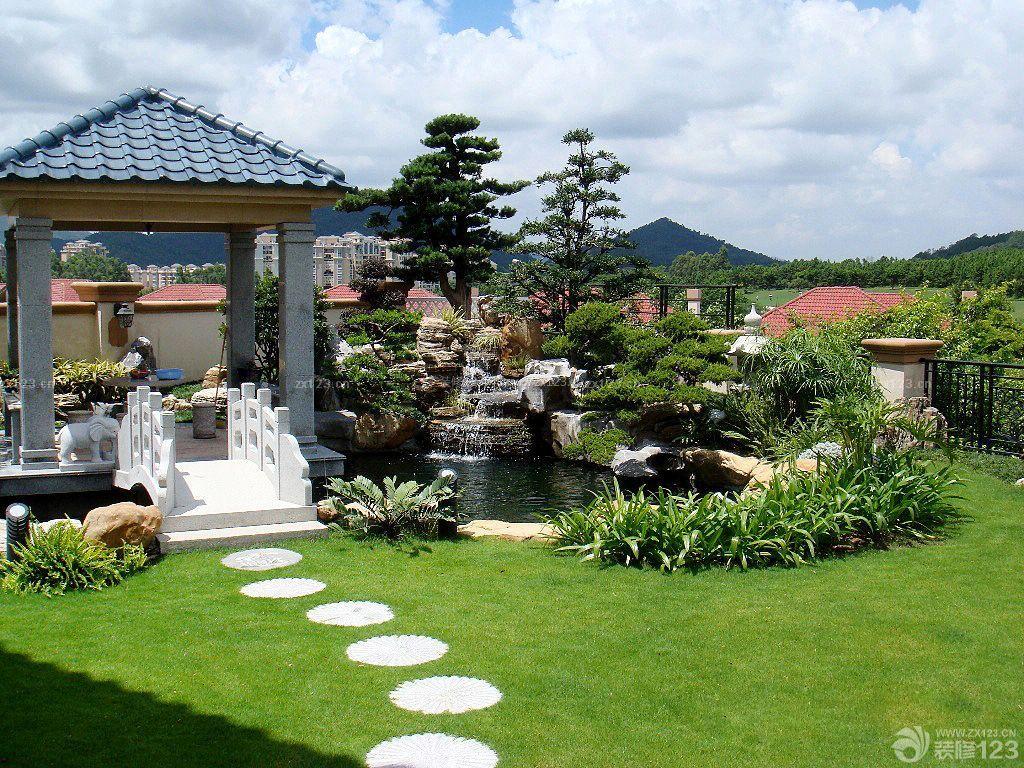 最新美式别墅庭院景观花园设计效果图图片
