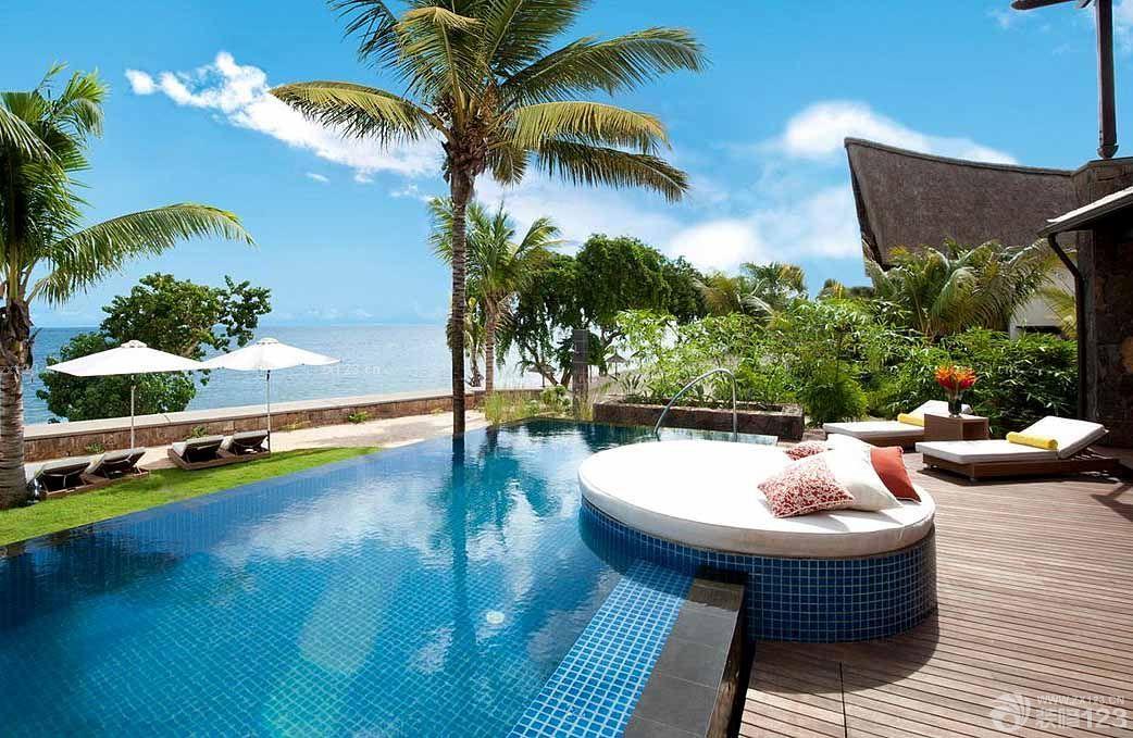 农村豪华别墅游泳池设计装修效果图片
