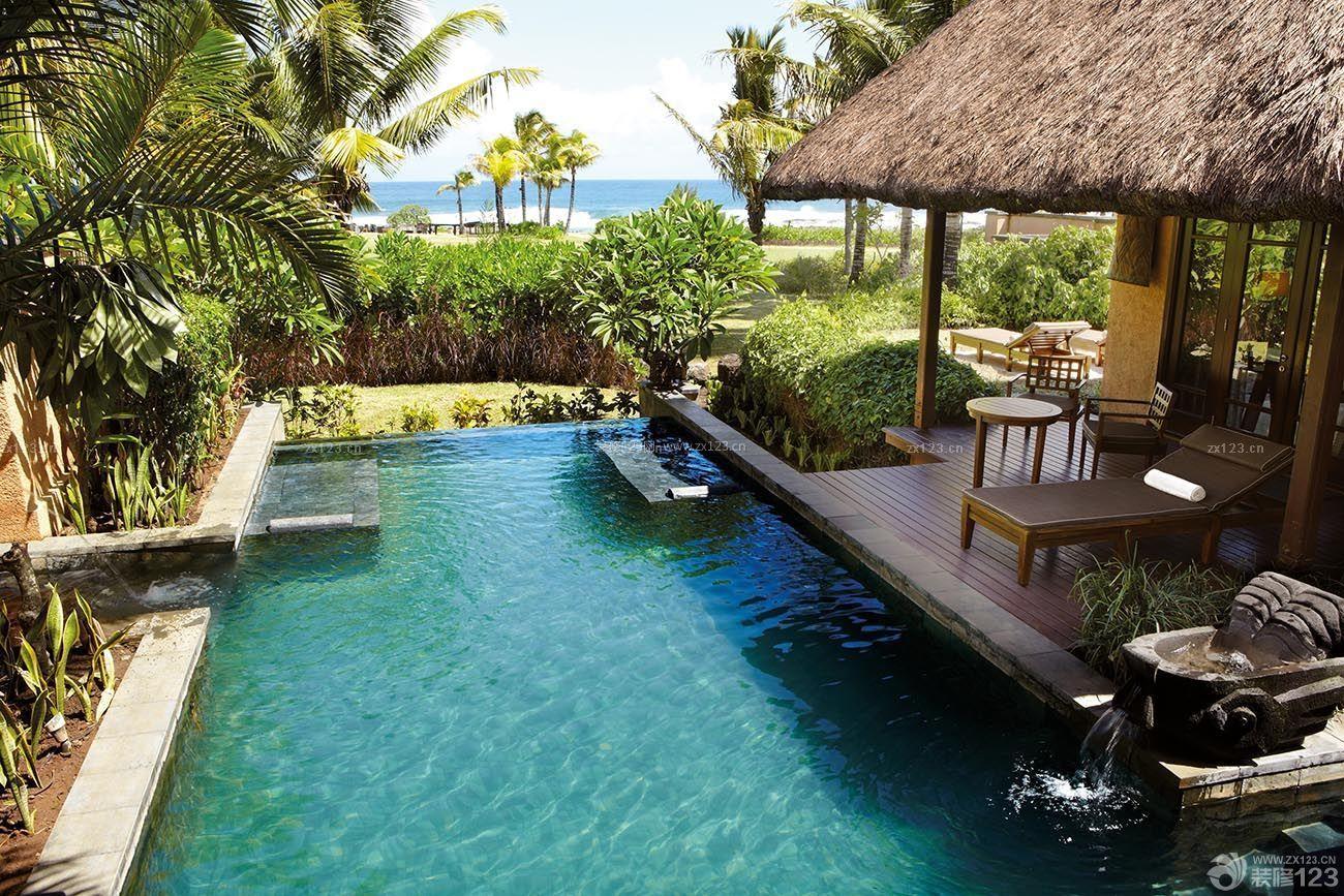 农村豪华别墅游泳池装修设计图片