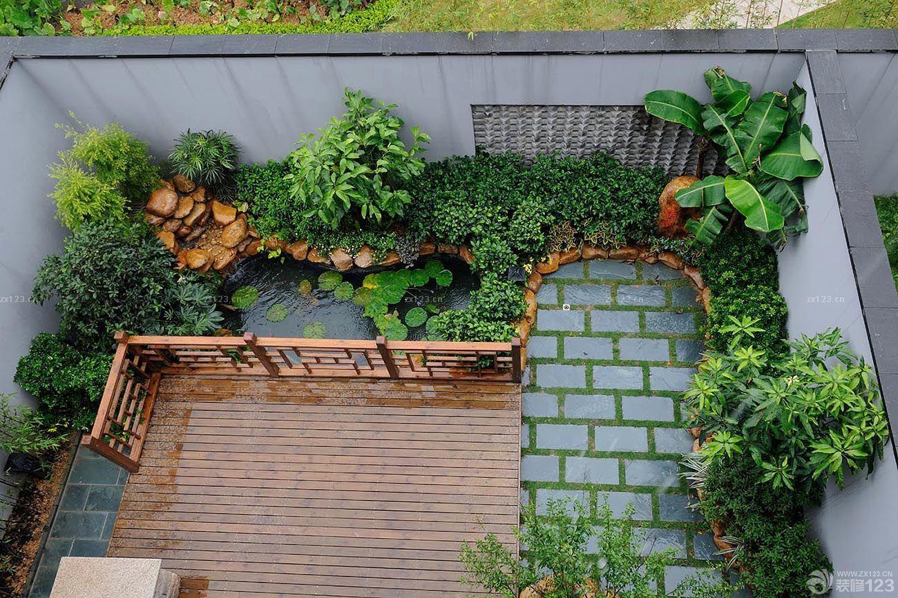 欧式别墅庭院杂色地砖装修设计效果图片-别墅唯美清新小庭院设计效