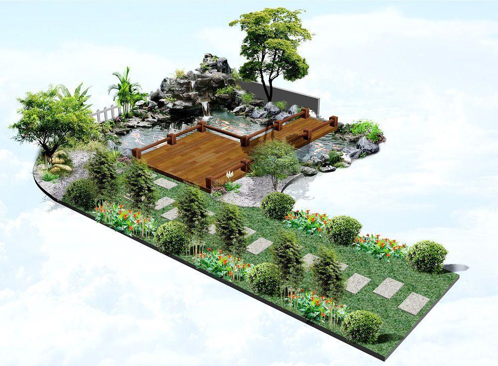 别墅花园假山鱼池设计图片