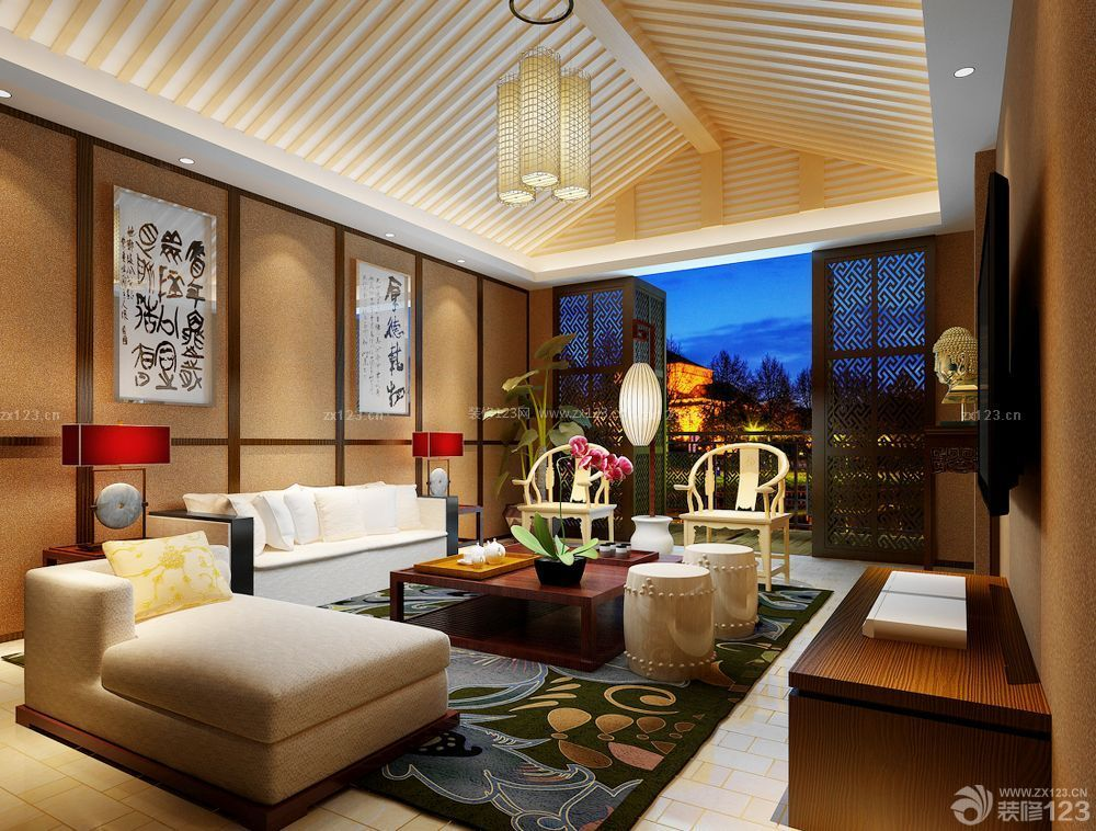 80平房子 木质吊顶装修设计图片大全_装修123效果图