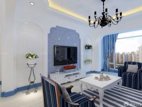 地中海房子裝修設計圖片大全 藍色踢腳線裝修效果圖片