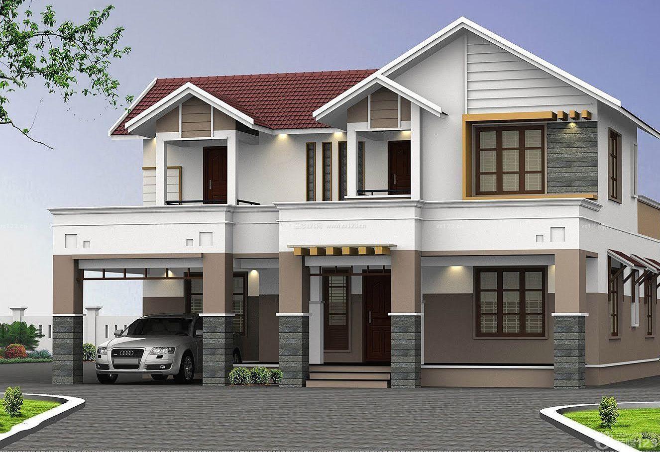 小美式风格乡村别墅建筑外观设计图片_装修123效果图