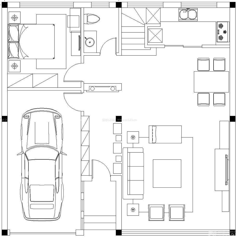 100平方别墅一居室设计图纸