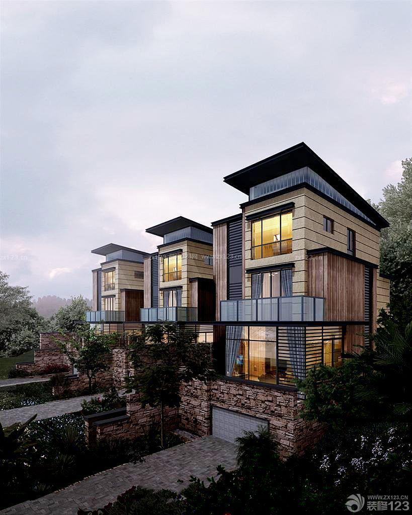 农村三层连体别墅外观设计图片