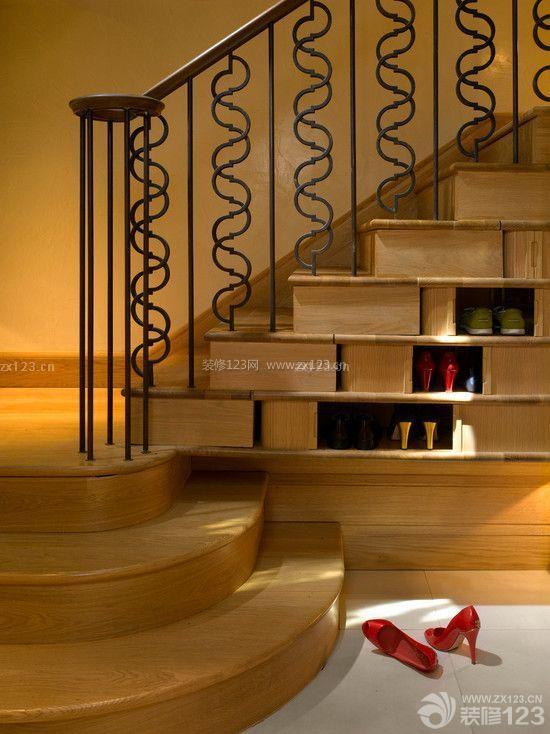 小独栋别墅室内楼梯间鞋柜装修效果图图别墅木头图片