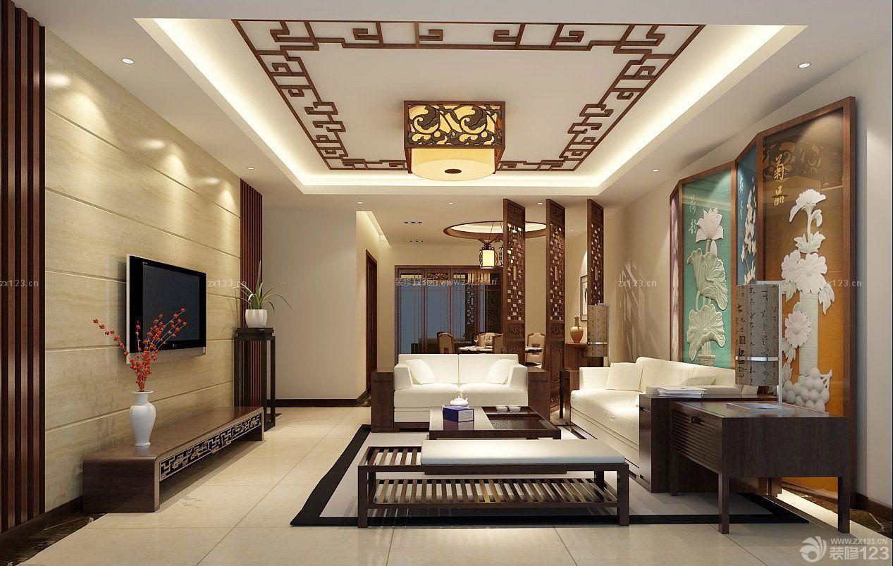 农村别墅室内现代中式家装客厅设计效果图图片