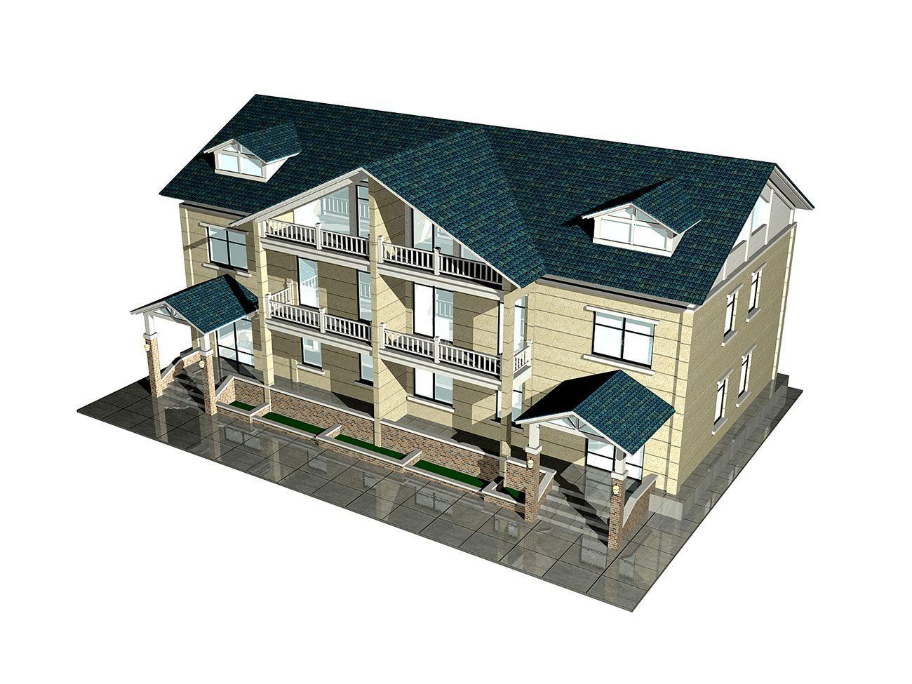 农村双拼别墅屋顶装修设计效果图