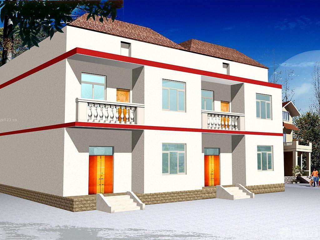 美式农村连体双拼别墅小户型设计效果图
