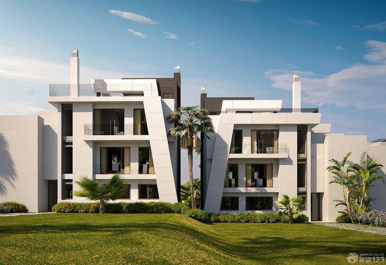 现代农村双拼别墅外观造型设计效果图