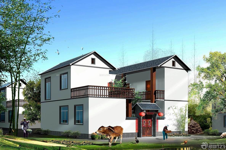 农村联排双拼别墅外观设计装修效果图_装修123效果图