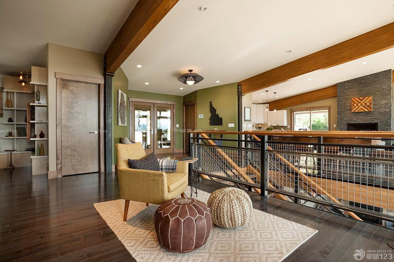农村别墅室内楼梯扶手设计装修图片
