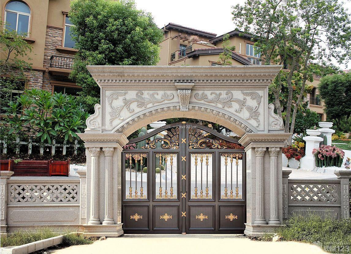 欧式风格别墅建筑庭院大门装修效果图