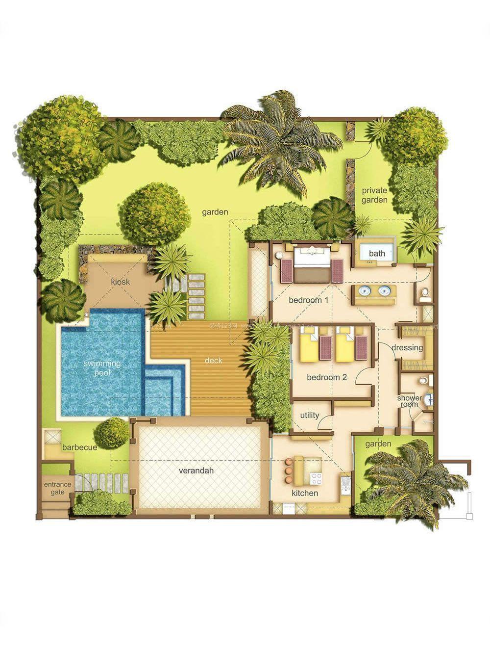 别墅庭院绿化设计平面图图片