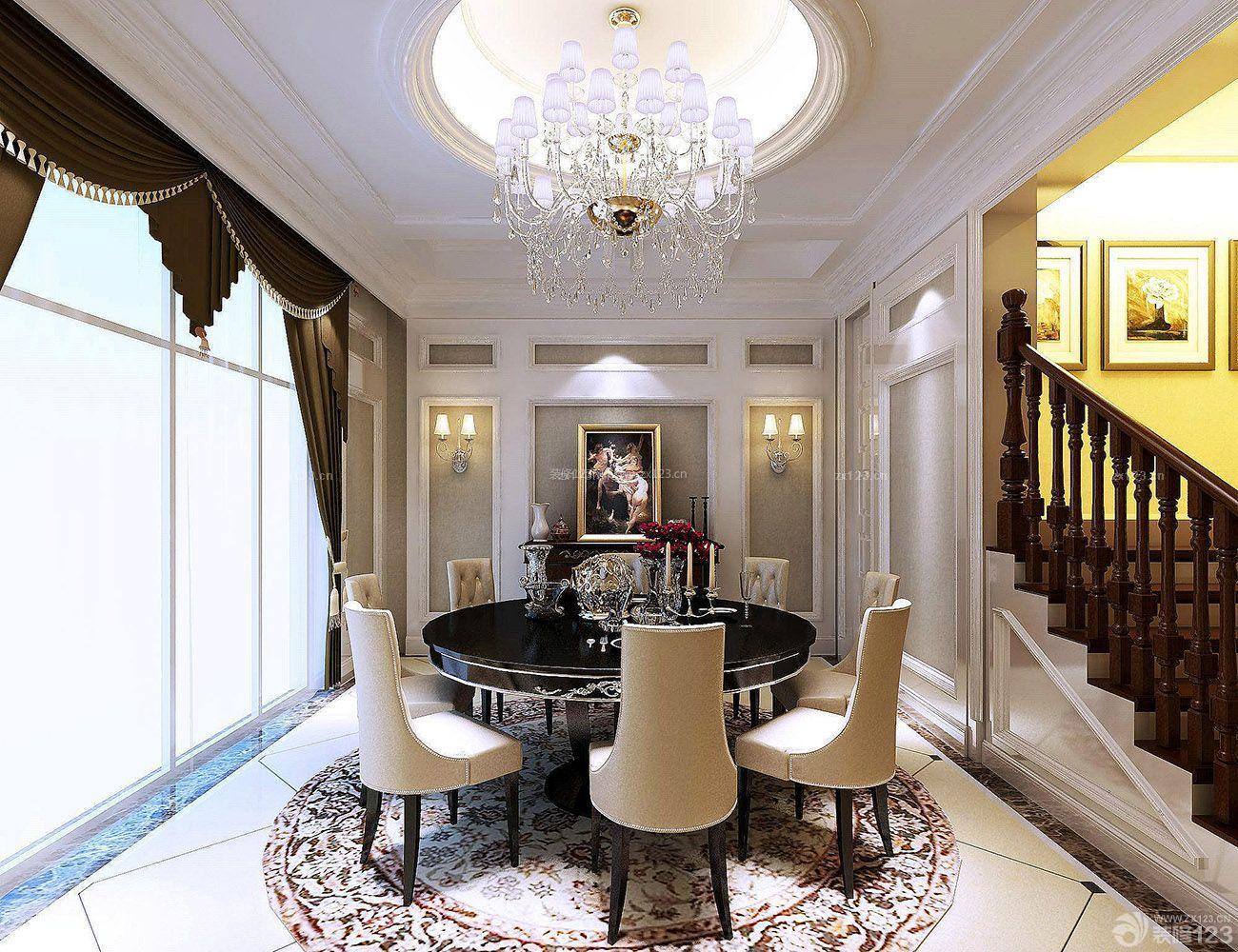 欧式风格跃层式别墅住宅餐厅装修效果图