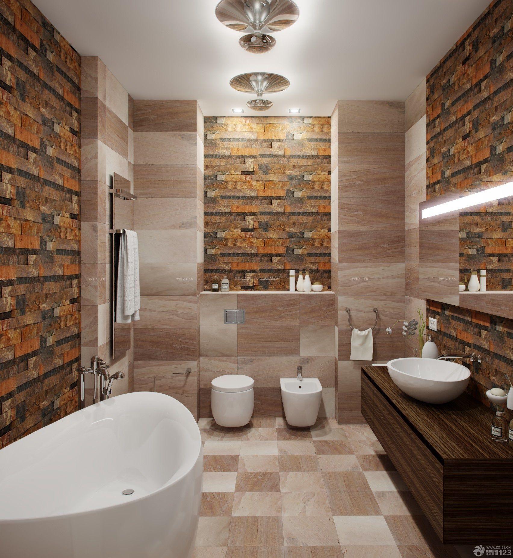 创意小户型卫生间仿古砖墙面装饰图片欣赏_装修123