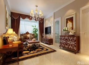 15平米客廳裝修效果圖 布藝窗簾裝修效果圖片