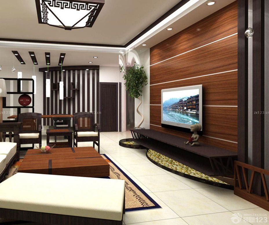 小户型客厅木质电视背景墙装修效果图大全2015图片