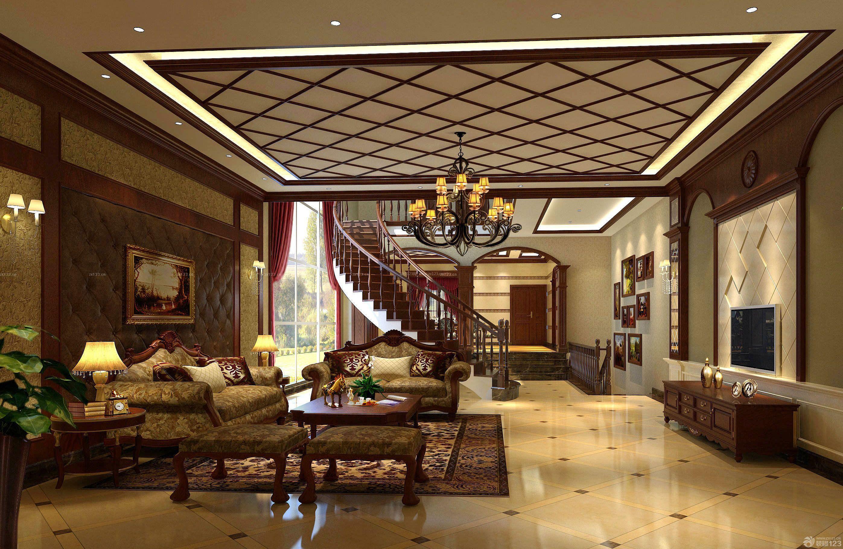 新中式房子客厅吊灯装修设计图片大全_装修123效果图图片