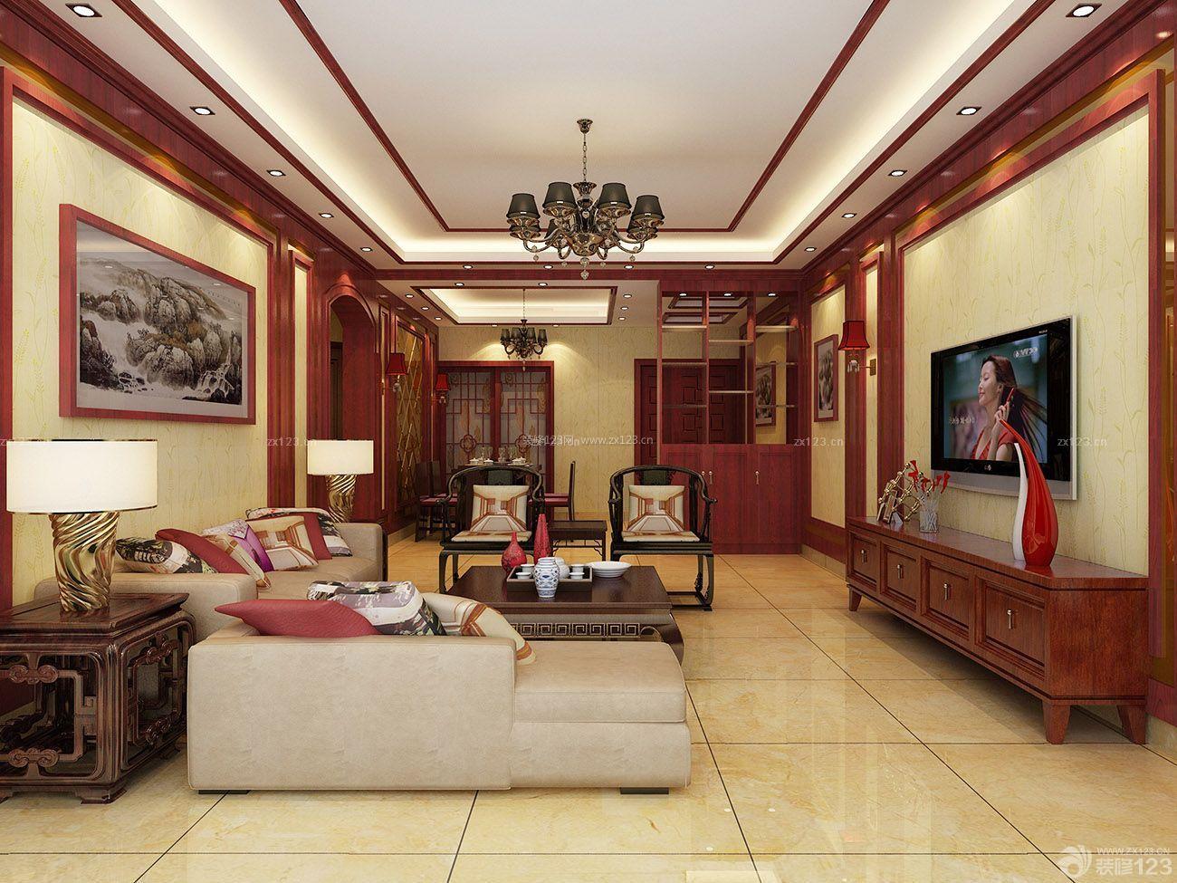 中式混搭家居房子客厅装修设计图片大全