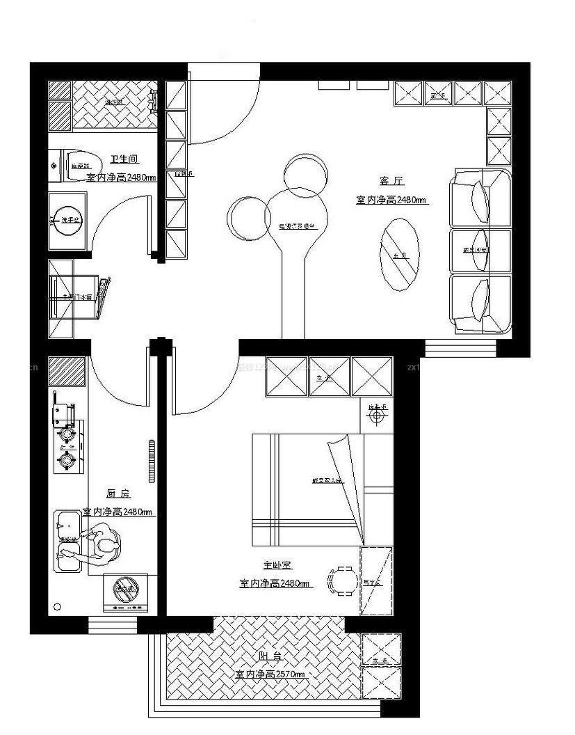 60平米小户型房屋平面图设计图片