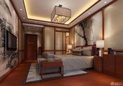 中式房子臥室壁畫背景墻裝修設計圖片大全