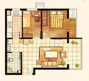60平两室一厅装修图