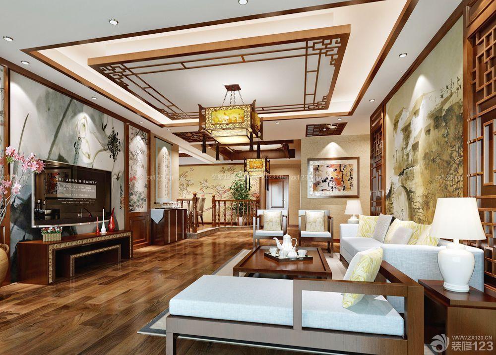 客厅吊顶设计装修效果图三室两厅中式