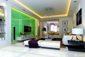 客廳色彩搭配 綠色墻面裝修效果圖片