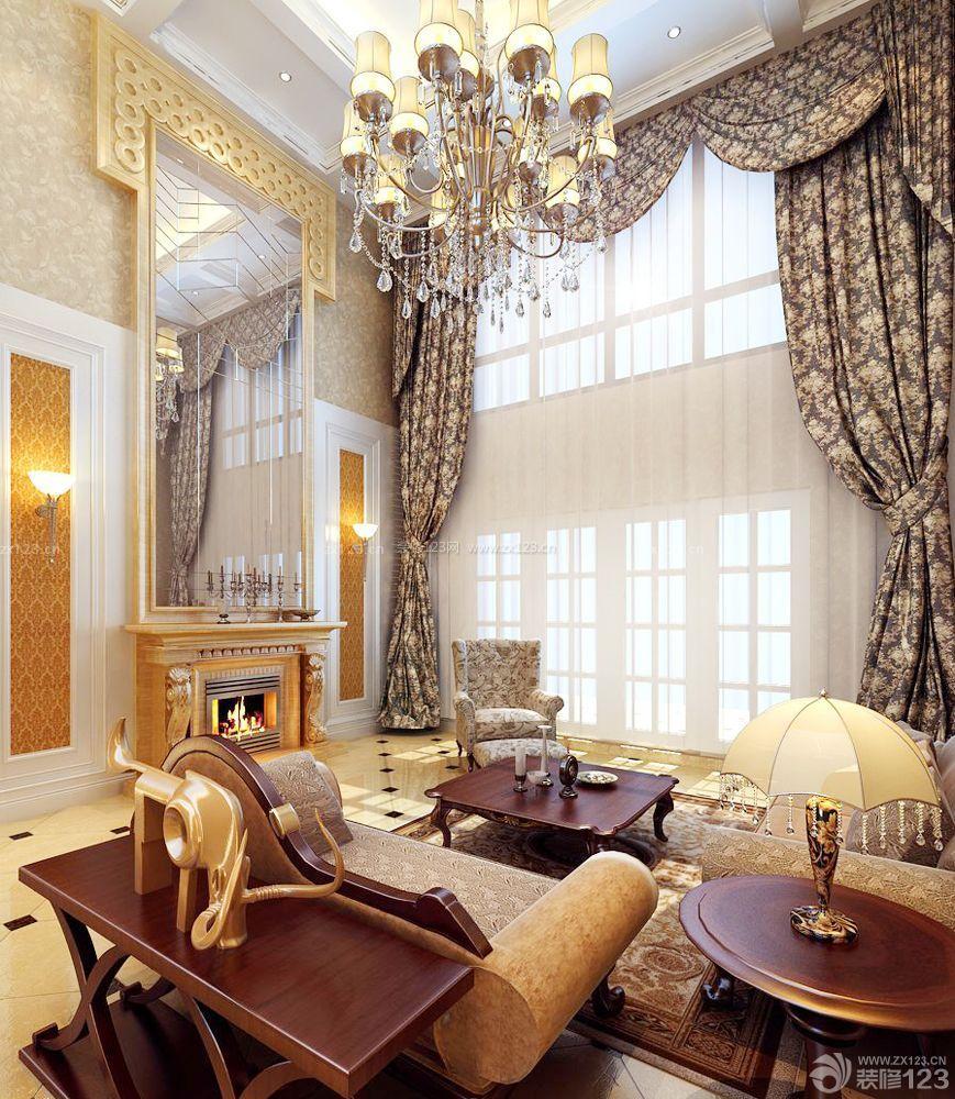 110房子客厅布艺窗帘装修设计图片大全