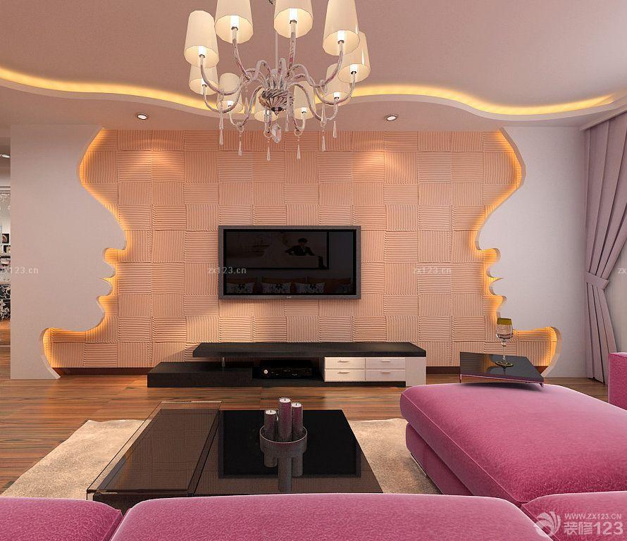 家居客厅电视硅藻泥背景墙装修效果图