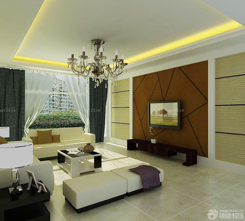 普通家庭客厅电视硅藻泥背景墙装修效果图