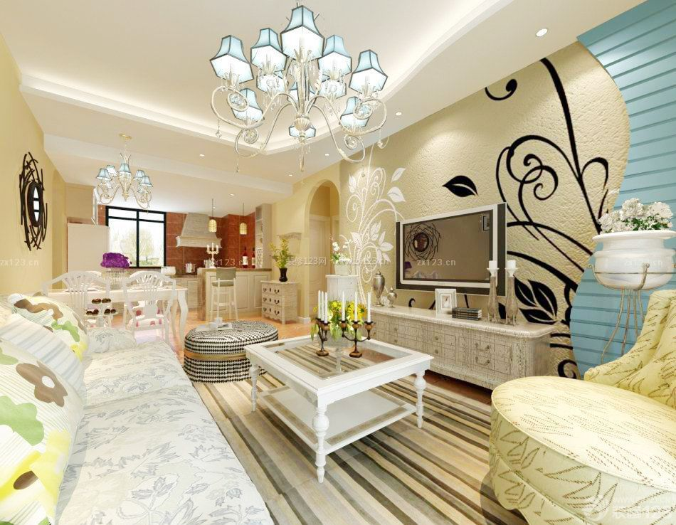 客厅硅藻泥背景墙造型设计效果图2014_装修123效果图