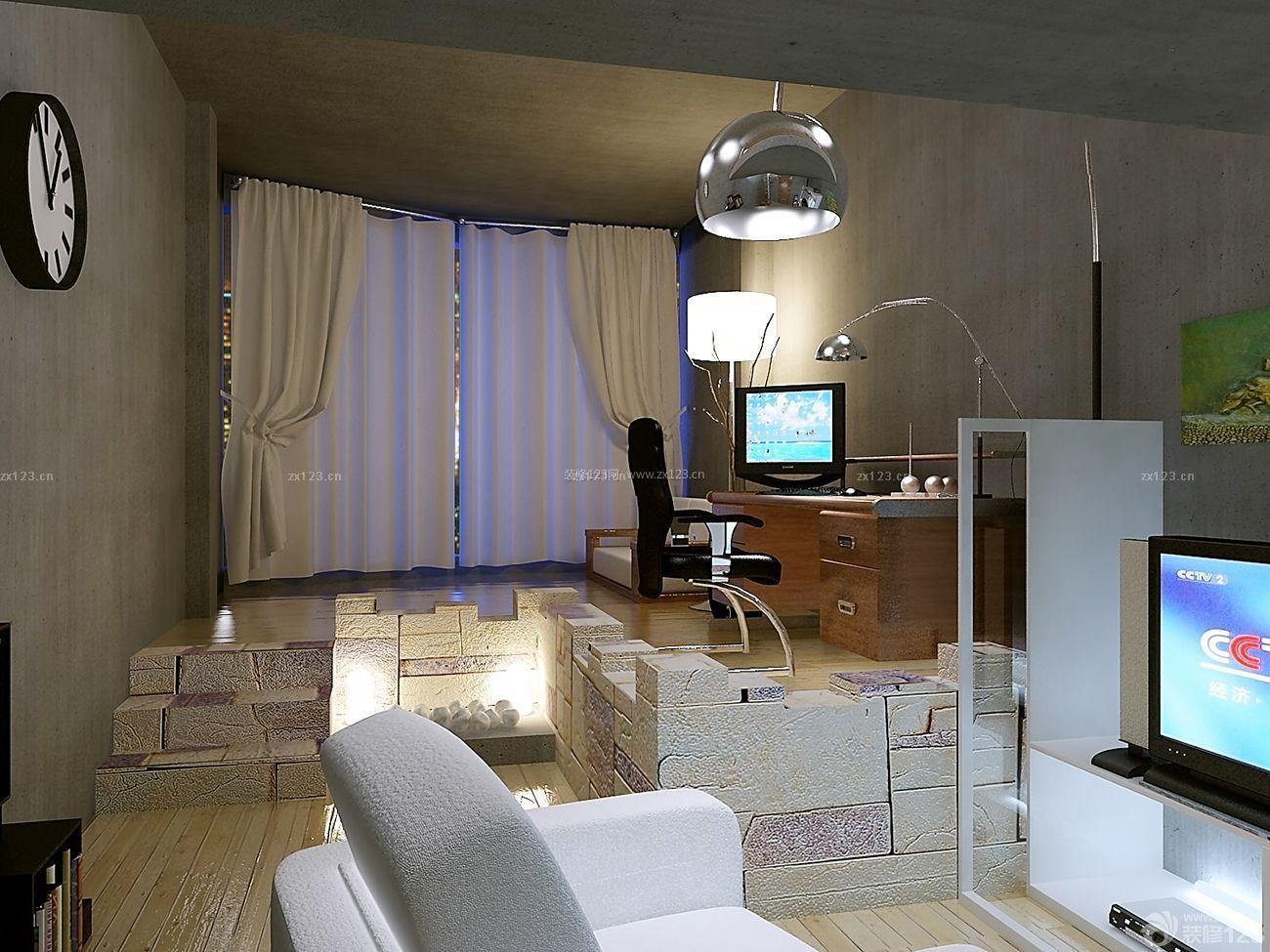 现代简单卧室装修样板间40平方房子_装修123效果图