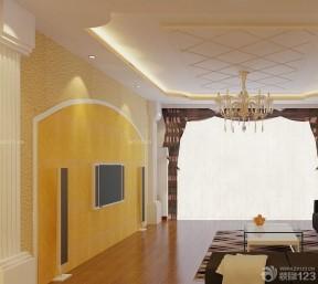 客厅电视硅藻泥背景墙效果图 小户型简欧客厅图片