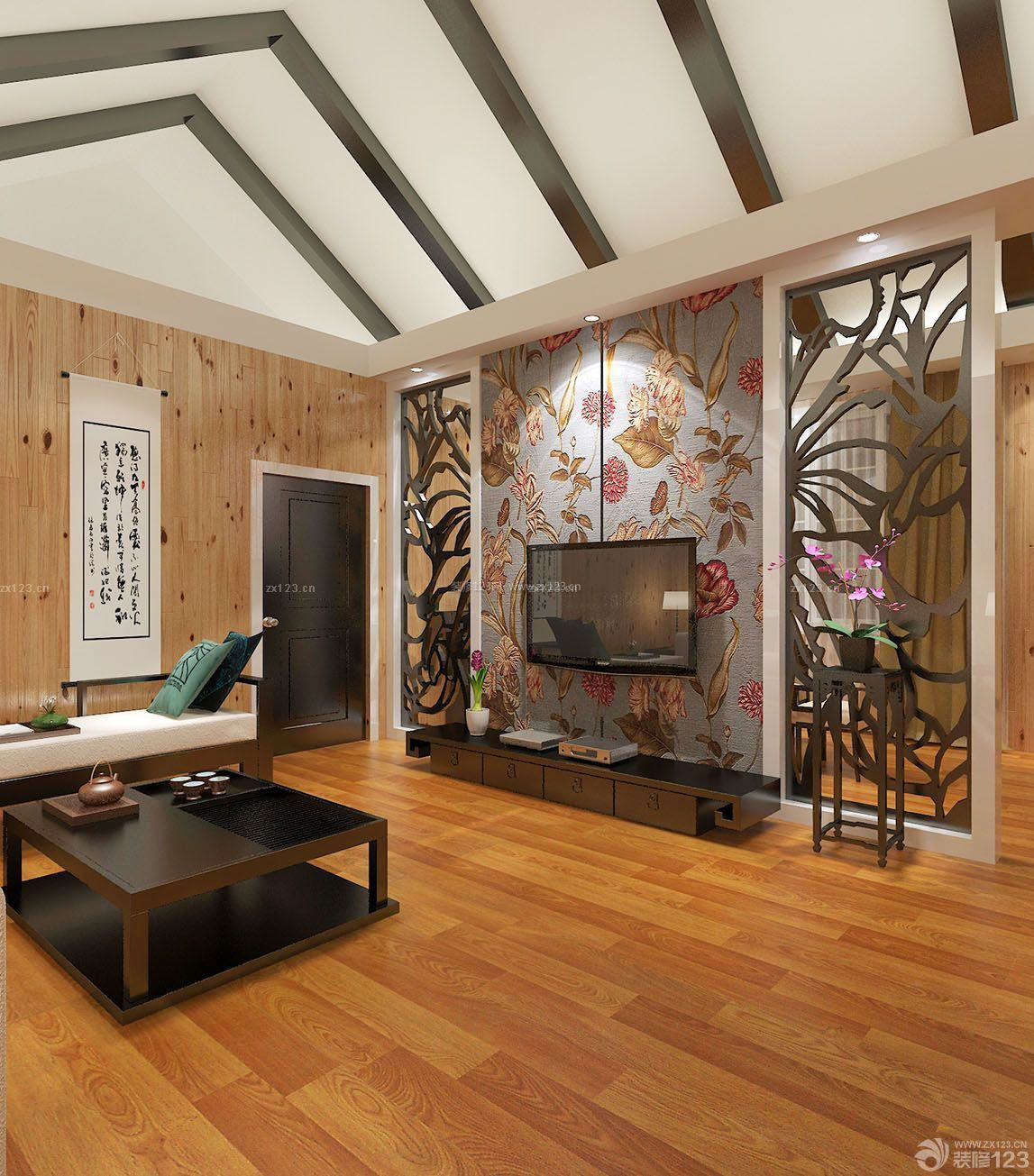 136平米房子尖顶客厅装修设计图片大全