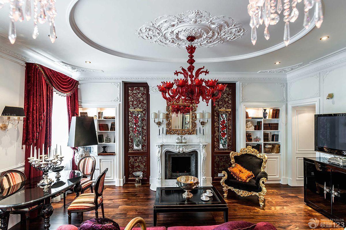 豪华欧式风格客厅餐厅装修效果图欣赏图片
