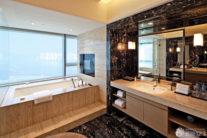星级酒店房间浴室柜装修效果图片