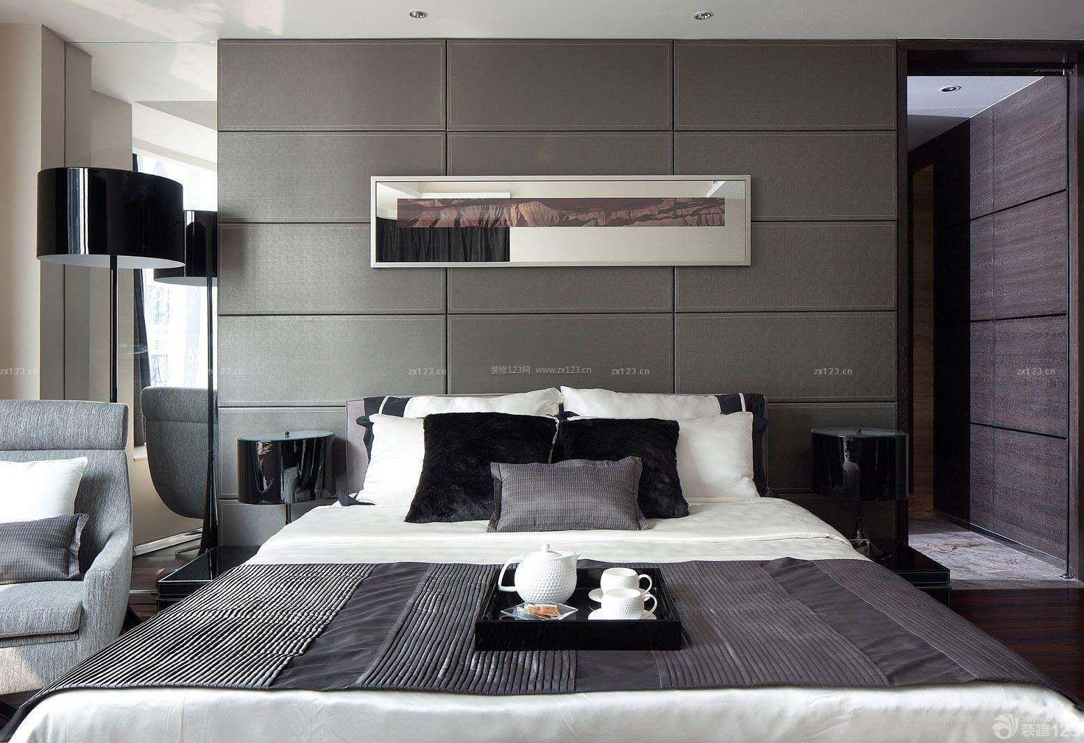 黑白风格卧室装修效果图三室两厅简装_装修1