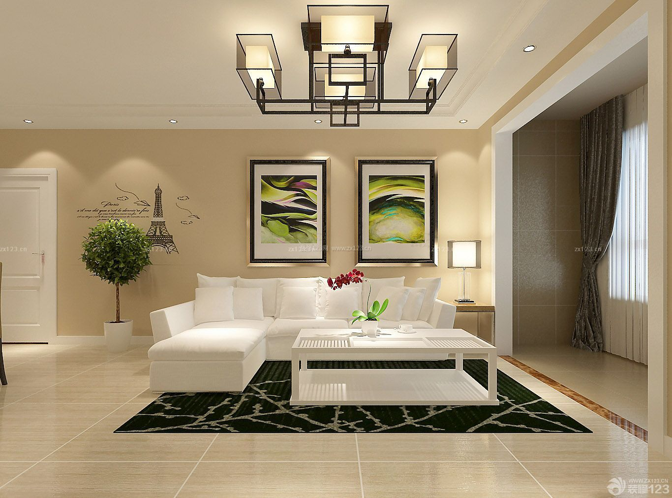 客厅新中式吊灯装修效果图三室两厅简装