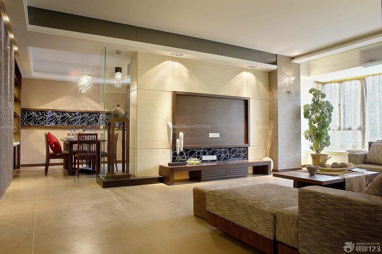 装修效果图三室两厅家装电视背景墙造型设计