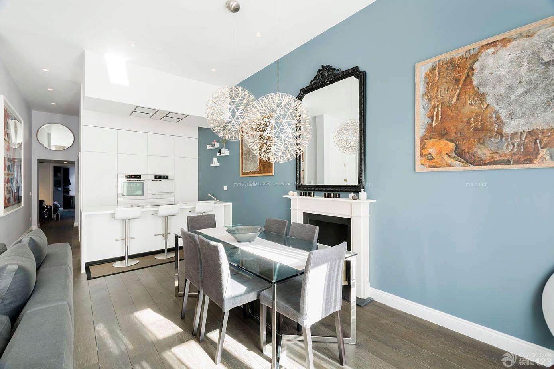 普通房子餐厅蓝色墙面装修设计图片大全图片
