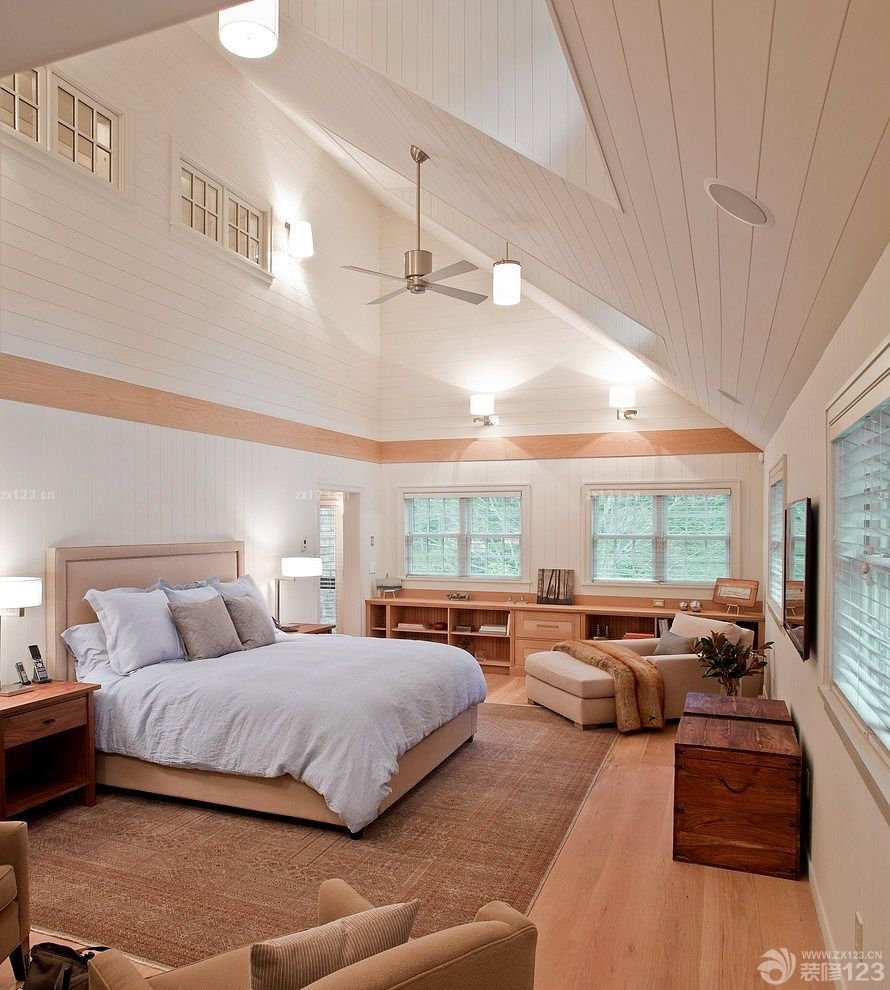 别墅房子斜顶卧室装修设计图片大全平简约图片